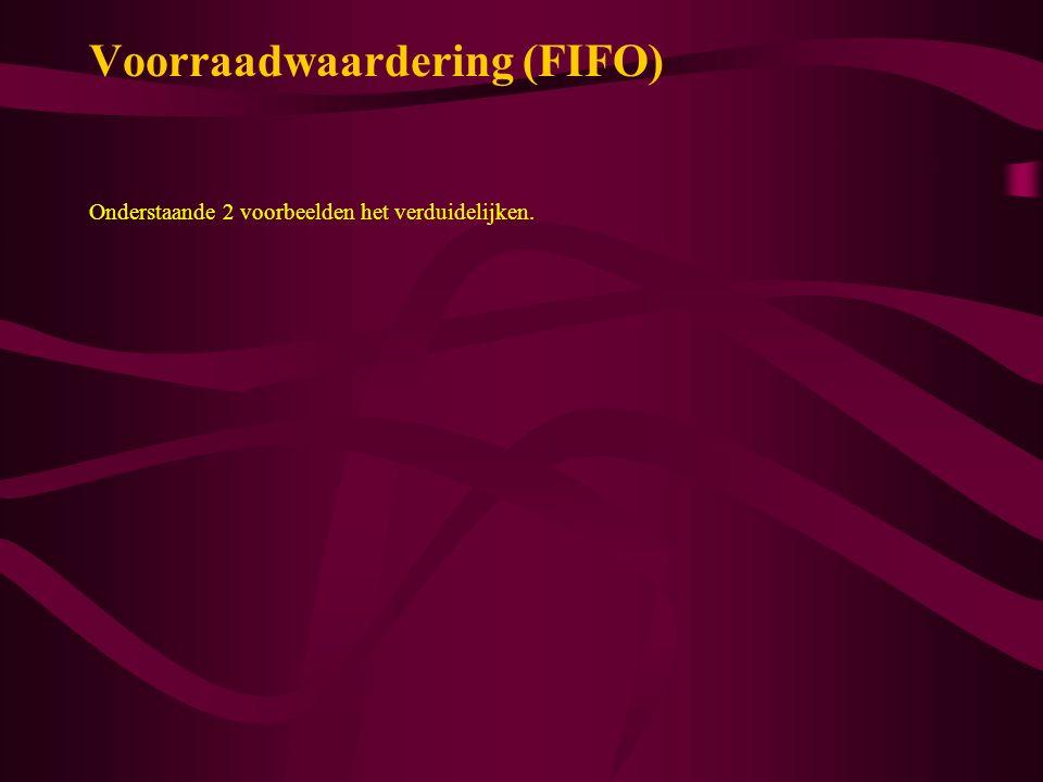 Voorraadwaardering (FIFO) Onderstaande 2 voorbeelden het verduidelijken.