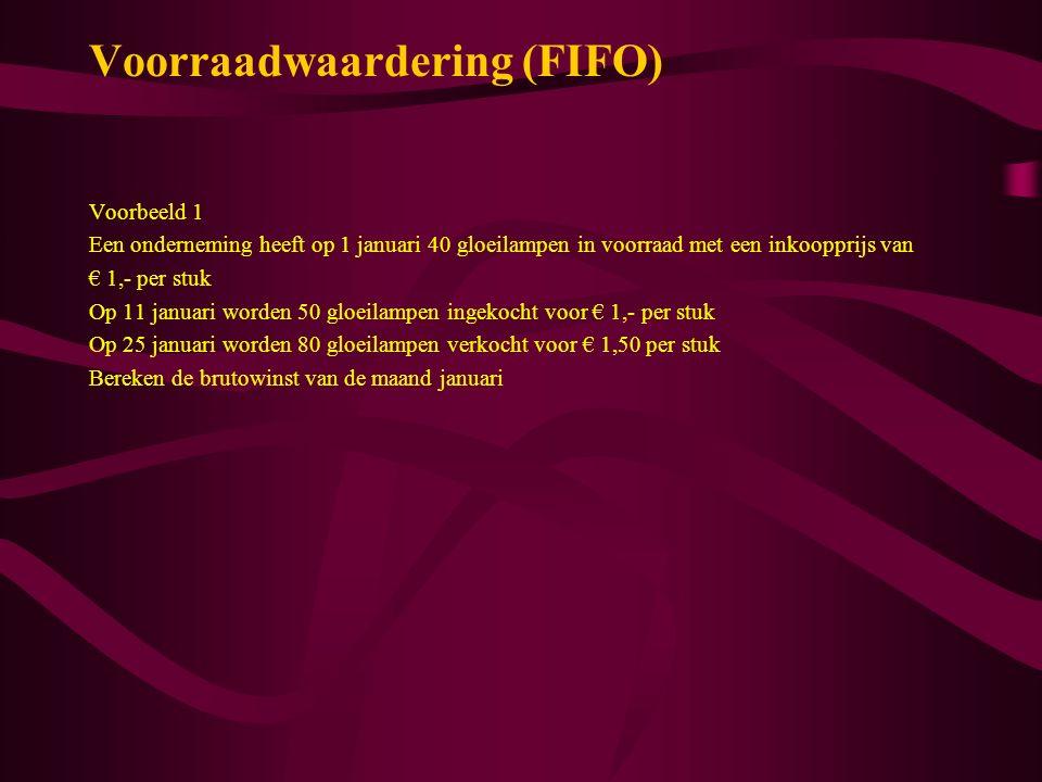 Voorraadwaardering (FIFO) Voorbeeld 1 Een onderneming heeft op 1 januari 40 gloeilampen in voorraad met een inkoopprijs van € 1,- per stuk Op 11 janua