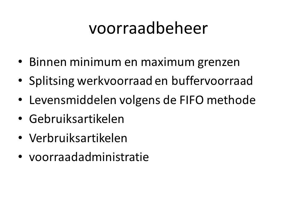 voorraadbeheer Binnen minimum en maximum grenzen Splitsing werkvoorraad en buffervoorraad Levensmiddelen volgens de FIFO methode Gebruiksartikelen Verbruiksartikelen voorraadadministratie