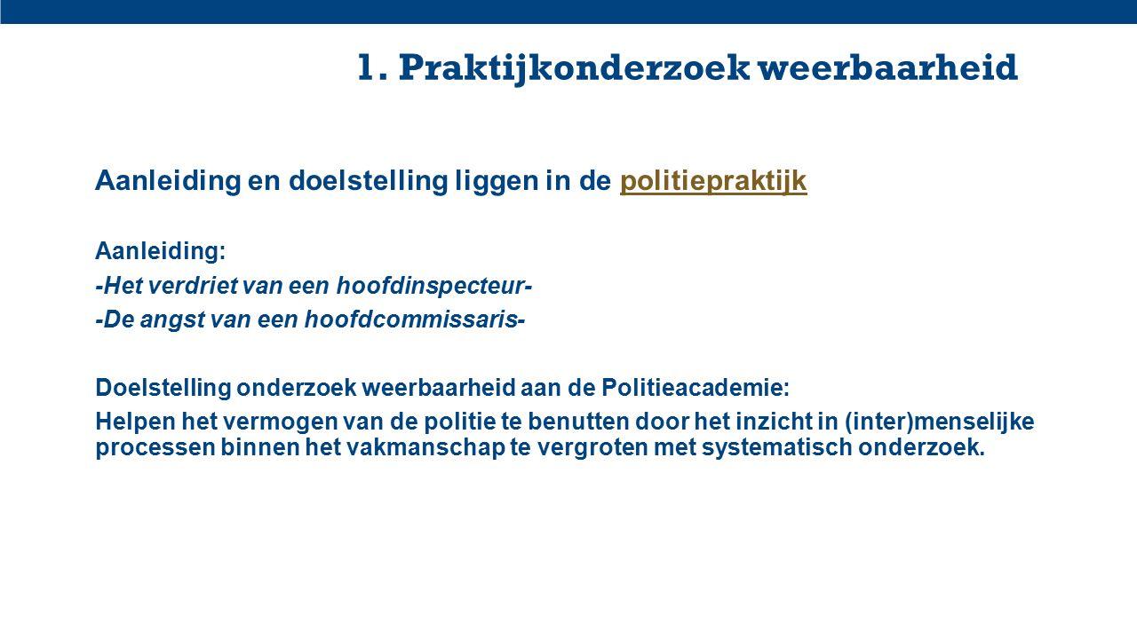 1. Praktijkonderzoek weerbaarheid Aanleiding en doelstelling liggen in de politiepraktijkpolitiepraktijk Aanleiding: -Het verdriet van een hoofdinspec