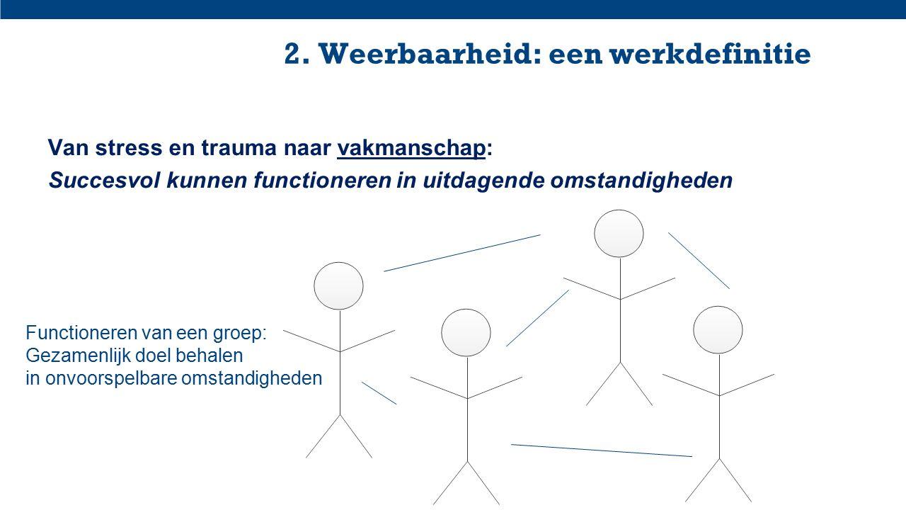 2. Weerbaarheid: een werkdefinitie Van stress en trauma naar vakmanschap: Succesvol kunnen functioneren in uitdagende omstandigheden Functioneren van