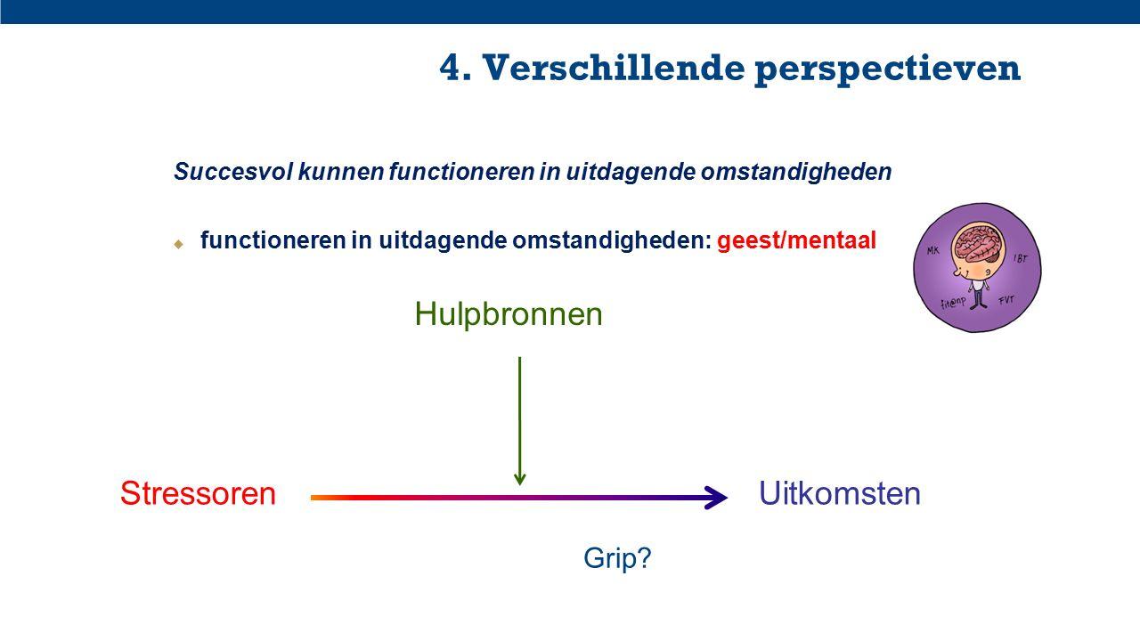 4. Verschillende perspectieven Succesvol kunnen functioneren in uitdagende omstandigheden  functioneren in uitdagende omstandigheden: geest/mentaal S