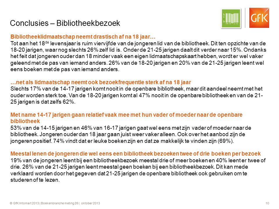 © GfK Intomart 2013 | Boekenbranche meting 26 | oktober 2013 10 Conclusies – Bibliotheekbezoek Bibliotheeklidmaatschap neemt drastisch af na 18 jaar…