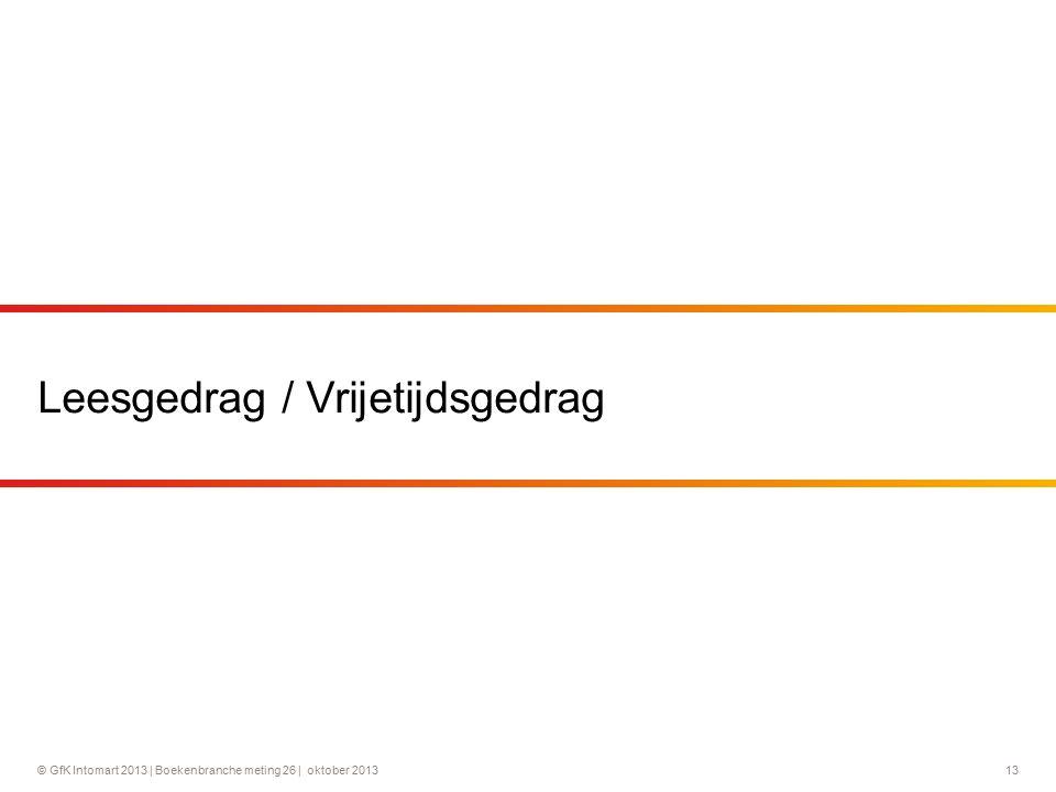© GfK Intomart 2013 | Boekenbranche meting 26 | oktober 2013 13 Leesgedrag / Vrijetijdsgedrag