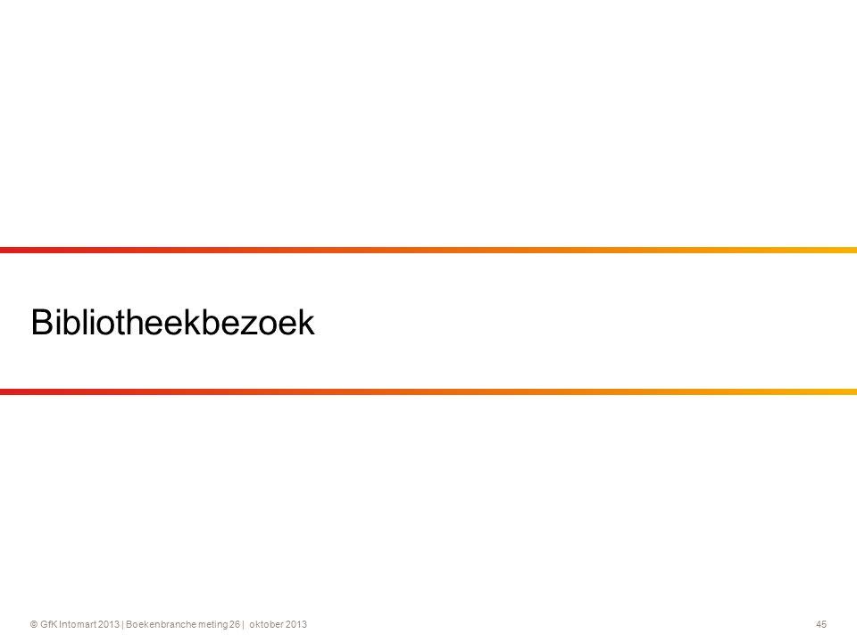 © GfK Intomart 2013 | Boekenbranche meting 26 | oktober 2013 45 Bibliotheekbezoek