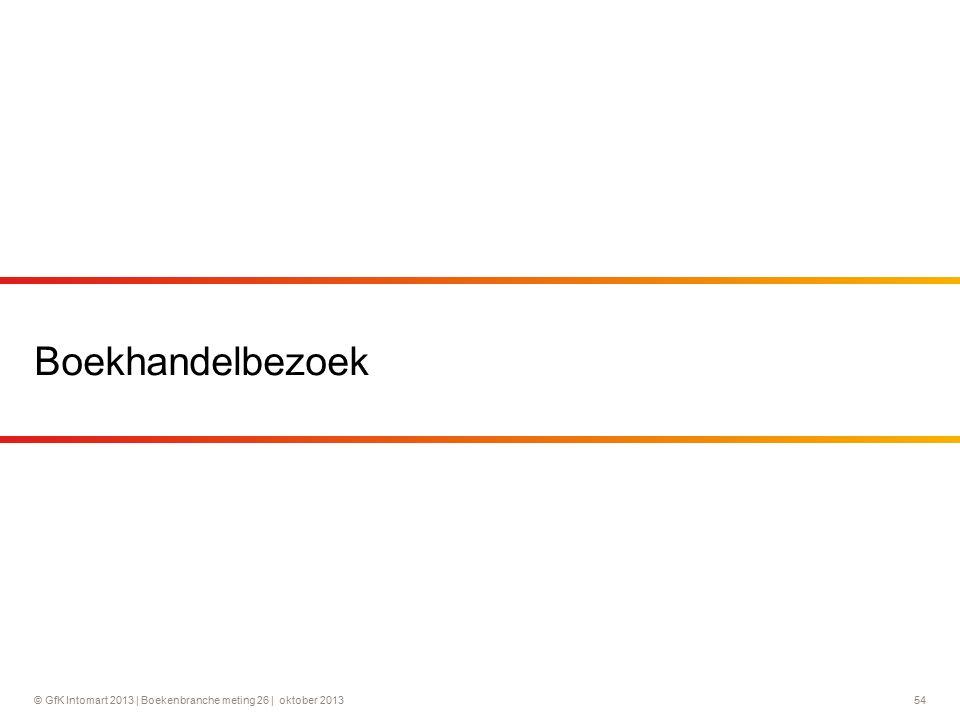 © GfK Intomart 2013 | Boekenbranche meting 26 | oktober 2013 54 Boekhandelbezoek