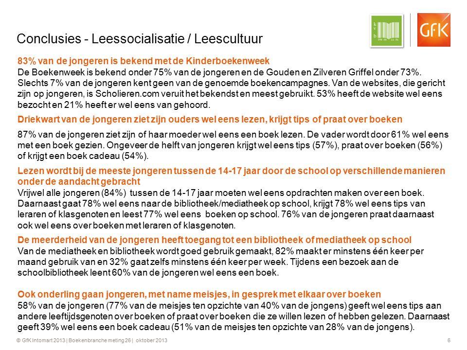 © GfK Intomart 2013 | Boekenbranche meting 26 | oktober 2013 7 Conclusies – Leesattitude & Leesgedrag / Vrijetijdsgedrag (1) Leesfrequentie in de vrije tijd van jongeren neemt na 15 jaar af en neemt weer toe boven de 20 jaar.