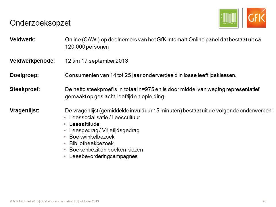 © GfK Intomart 2013 | Boekenbranche meting 26 | oktober 2013 70 Onderzoeksopzet Veldwerk:Online (CAWI) op deelnemers van het GfK Intomart Online panel