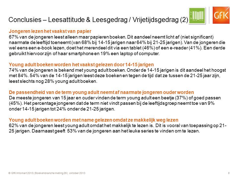 © GfK Intomart 2013 | Boekenbranche meting 26 | oktober 2013 8 Conclusies – Leesattitude & Leesgedrag / Vrijetijdsgedrag (2) Jongeren lezen het vaakst