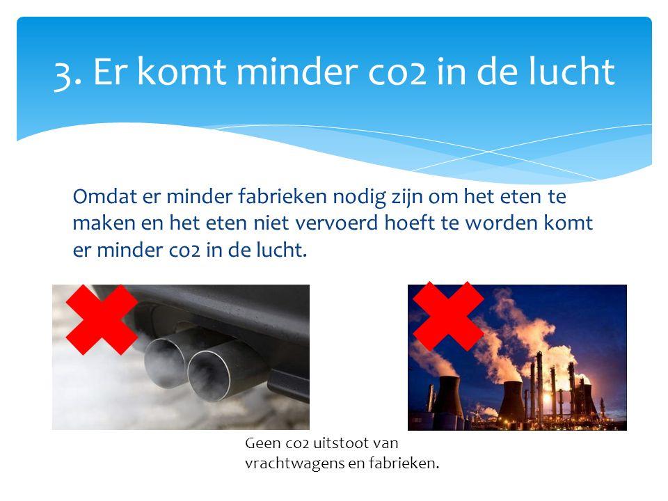 Omdat er minder fabrieken nodig zijn om het eten te maken en het eten niet vervoerd hoeft te worden komt er minder co2 in de lucht.