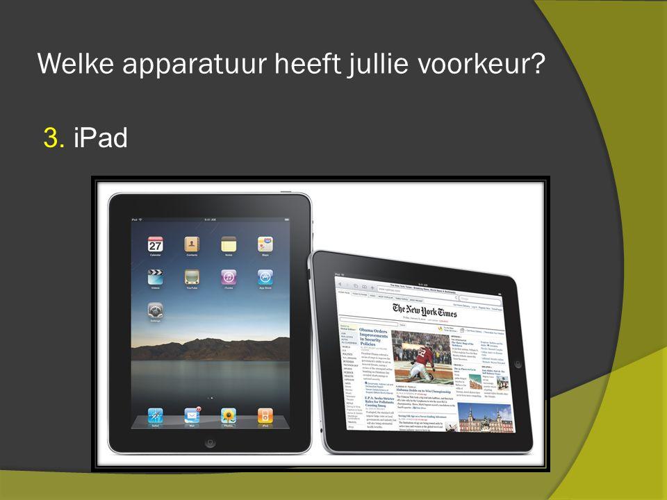 Welke apparatuur heeft jullie voorkeur 3. iPad