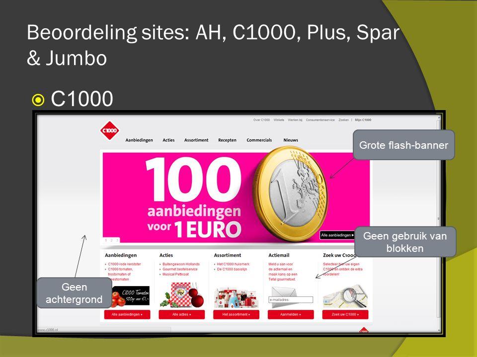 Beoordeling sites: AH, C1000, Plus, Spar & Jumbo  C1000 Geen achtergrond Grote flash-banner Geen gebruik van blokken