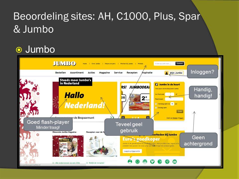 Beoordeling sites: AH, C1000, Plus, Spar & Jumbo  Jumbo Geen achtergrond Goed flash-player Minder traag.