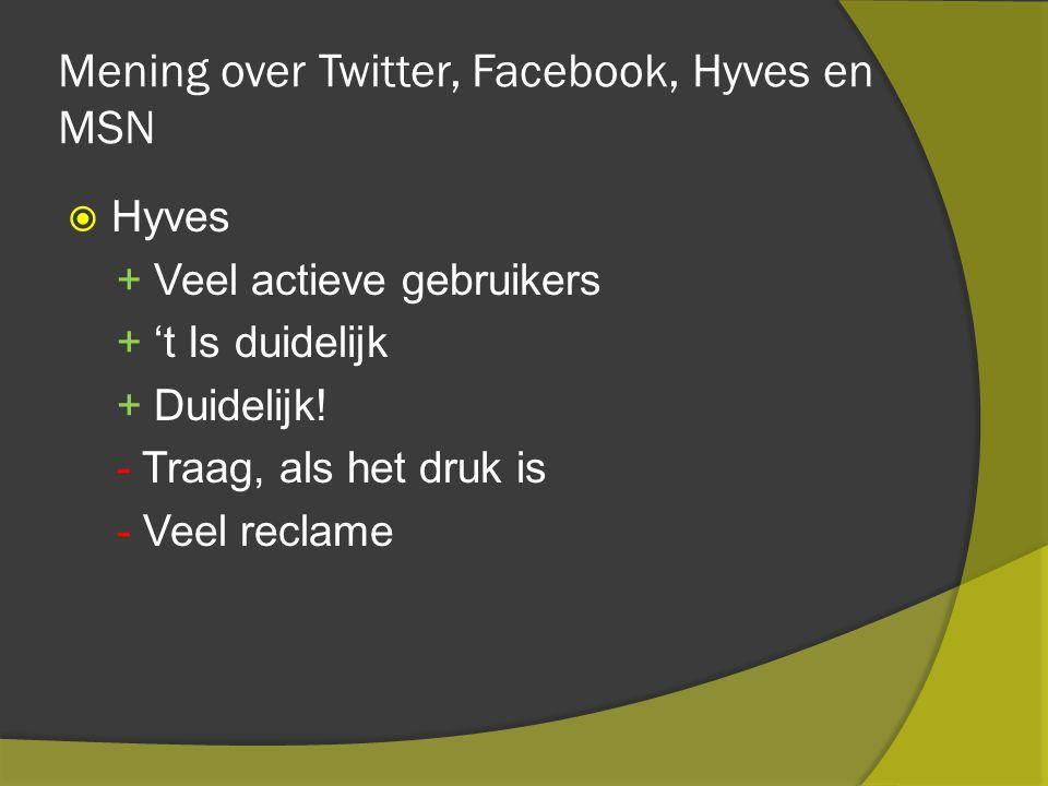 Mening over Twitter, Facebook, Hyves en MSN  Hyves + Veel actieve gebruikers + 't Is duidelijk + Duidelijk.