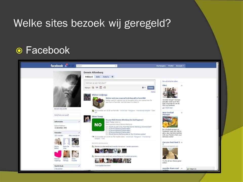 Welke sites bezoek wij geregeld  Facebook