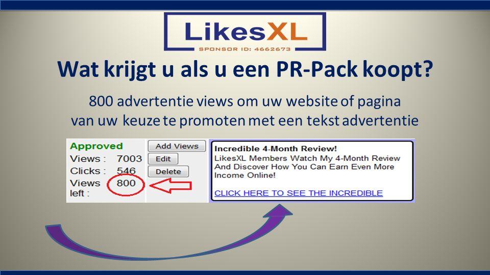 Wat krijgt u als u een PR-Pack koopt? 800 advertentie views om uw website of pagina van uw keuze te promoten met een tekst advertentie