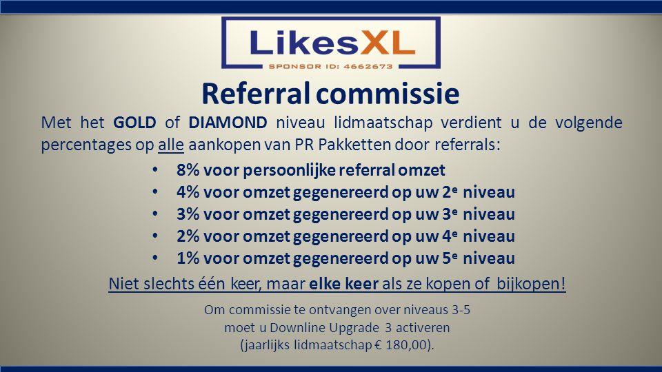Referral commissie 8% voor persoonlijke referral omzet 4% voor omzet gegenereerd op uw 2 e niveau 3% voor omzet gegenereerd op uw 3 e niveau 2% voor o