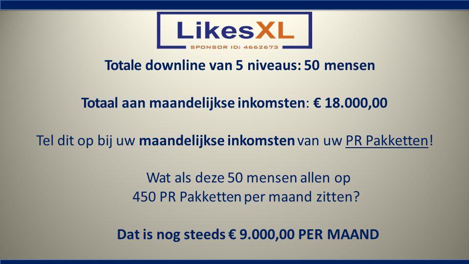 Totale downline van 5 niveaus: 50 mensen Totaal aan maandelijkse inkomsten: € 18.000,00 Tel dit op bij uw maandelijkse inkomsten van uw PR Pakketten!
