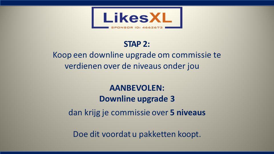 STAP 2: Koop een downline upgrade om commissie te verdienen over de niveaus onder jou AANBEVOLEN: Downline upgrade 3 dan krijg je commissie over 5 niv