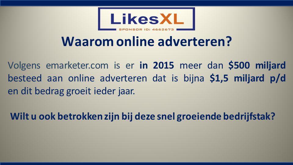Volgens emarketer.com is er in 2015 meer dan $500 miljard besteed aan online adverteren dat is bijna $1,5 miljard p/d en dit bedrag groeit ieder jaar.