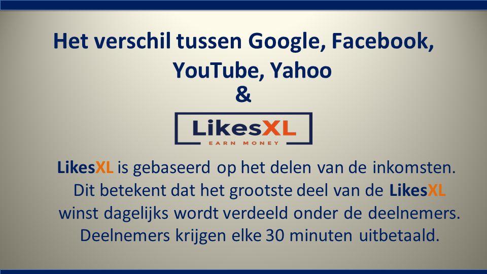Het verschil tussen Google, Facebook, YouTube, Yahoo & LikesXL is gebaseerd op het delen van de inkomsten. Dit betekent dat het grootste deel van de L