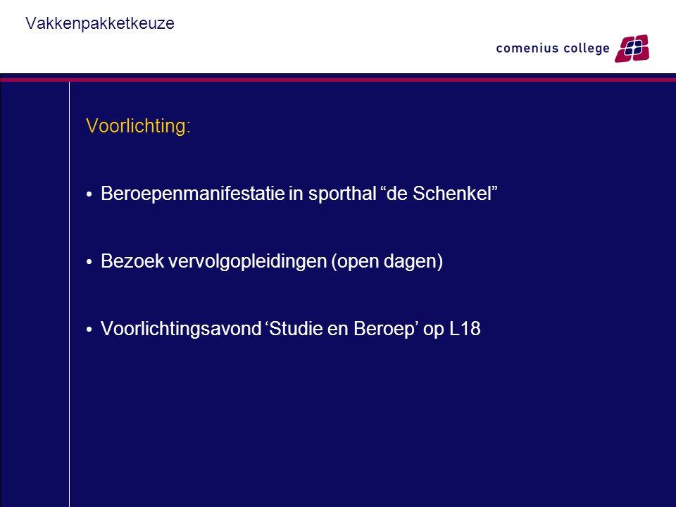 Vakkenpakketkeuze Voorlichting: Beroepenmanifestatie in sporthal de Schenkel Bezoek vervolgopleidingen (open dagen) Voorlichtingsavond 'Studie en Beroep' op L18