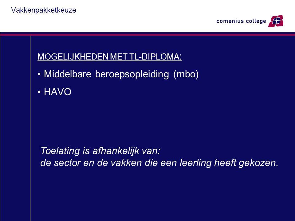 Vakkenpakketkeuze MOGELIJKHEDEN MET TL-DIPLOMA : Middelbare beroepsopleiding (mbo) HAVO Toelating is afhankelijk van: de sector en de vakken die een leerling heeft gekozen.