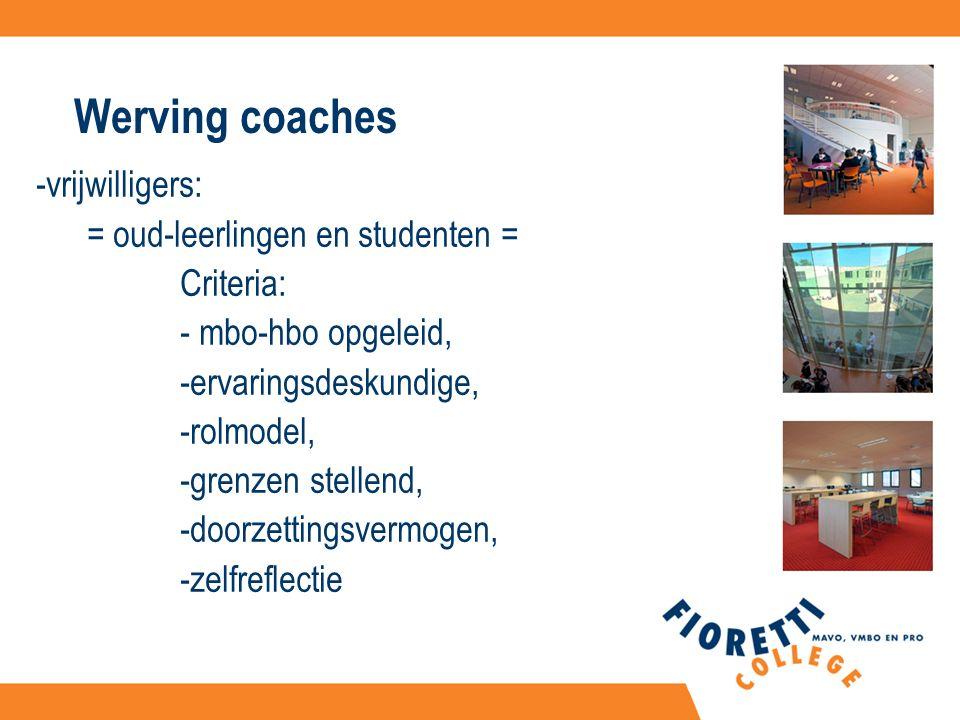 Werving coaches -vrijwilligers: = oud-leerlingen en studenten = Criteria: - mbo-hbo opgeleid, -ervaringsdeskundige, -rolmodel, -grenzen stellend, -doorzettingsvermogen, -zelfreflectie