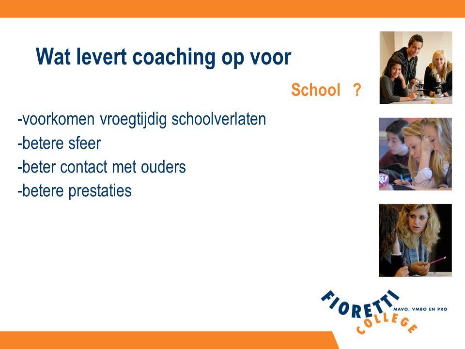 Wat levert coaching op voor -voorkomen vroegtijdig schoolverlaten -betere sfeer -beter contact met ouders -betere prestaties School