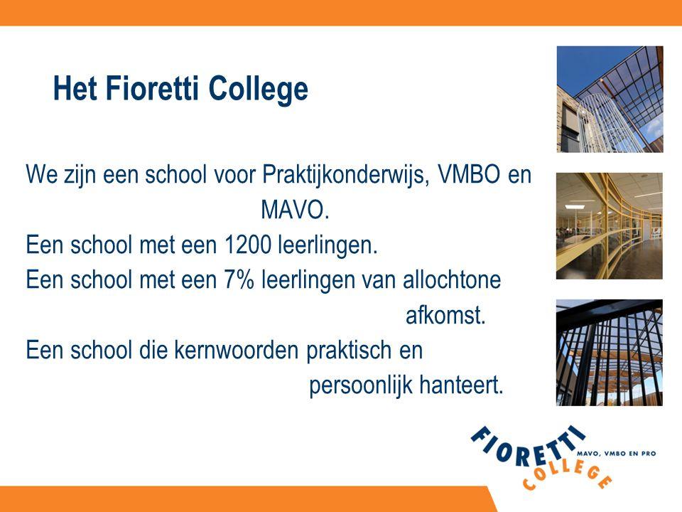 Het Fioretti College We zijn een school voor Praktijkonderwijs, VMBO en MAVO.