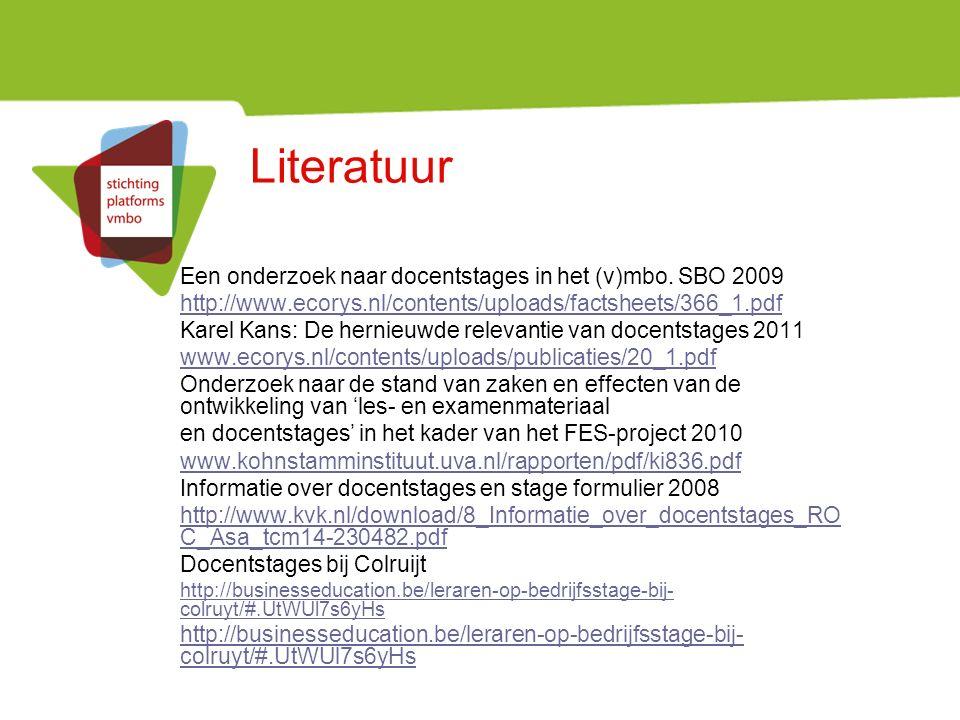 Literatuur Een onderzoek naar docentstages in het (v)mbo.