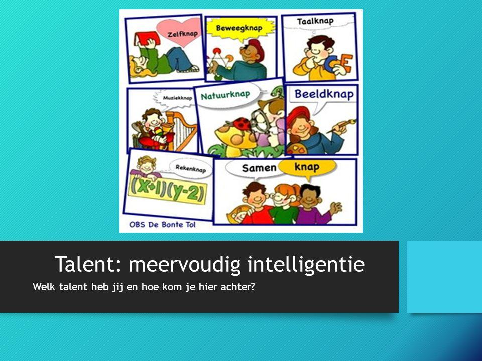 Talent: meervoudig intelligentie Welk talent heb jij en hoe kom je hier achter?