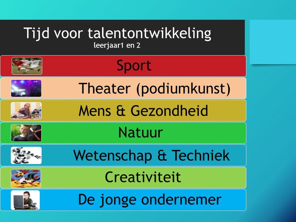 Tijd voor talentontwikkeling leerjaar1 en 2 Sport De jonge ondernemer Theater (podiumkunst) Mens & Gezondheid Natuur Wetenschap & Techniek Creativiteit