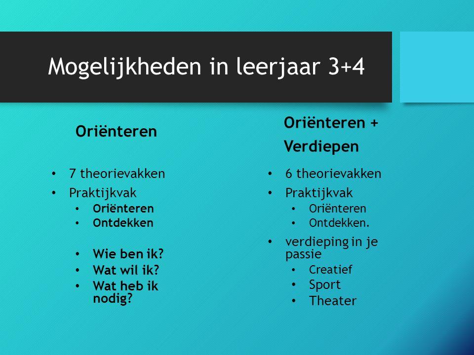 Mogelijkheden in leerjaar 3+4 Oriënteren 6 theorievakken Praktijkvak Oriënteren Ontdekken.