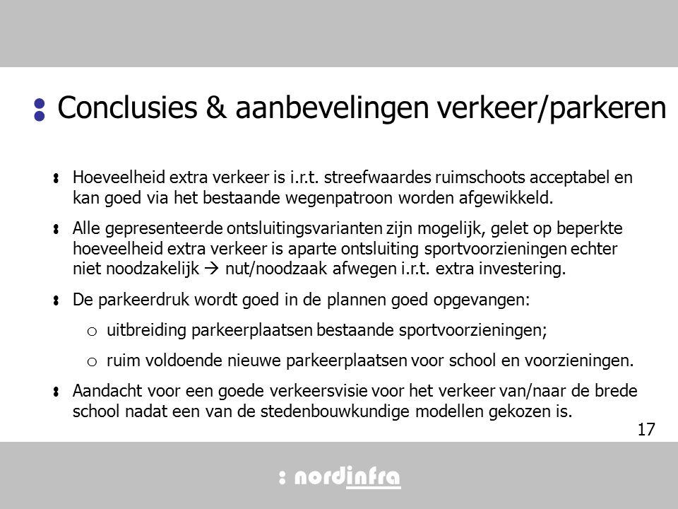 : nordinfra Conclusies & aanbevelingen verkeer/parkeren : : Hoeveelheid extra verkeer is i.r.t.