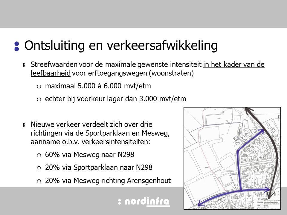 : nordinfra Ontsluiting en verkeersafwikkeling : : Streefwaarden voor de maximale gewenste intensiteit in het kader van de leefbaarheid voor erftoegangswegen (woonstraten) o maximaal 5.000 à 6.000 mvt/etm o echter bij voorkeur lager dan 3.000 mvt/etm : Nieuwe verkeer verdeelt zich over drie richtingen via de Sportparklaan en Mesweg, aanname o.b.v.