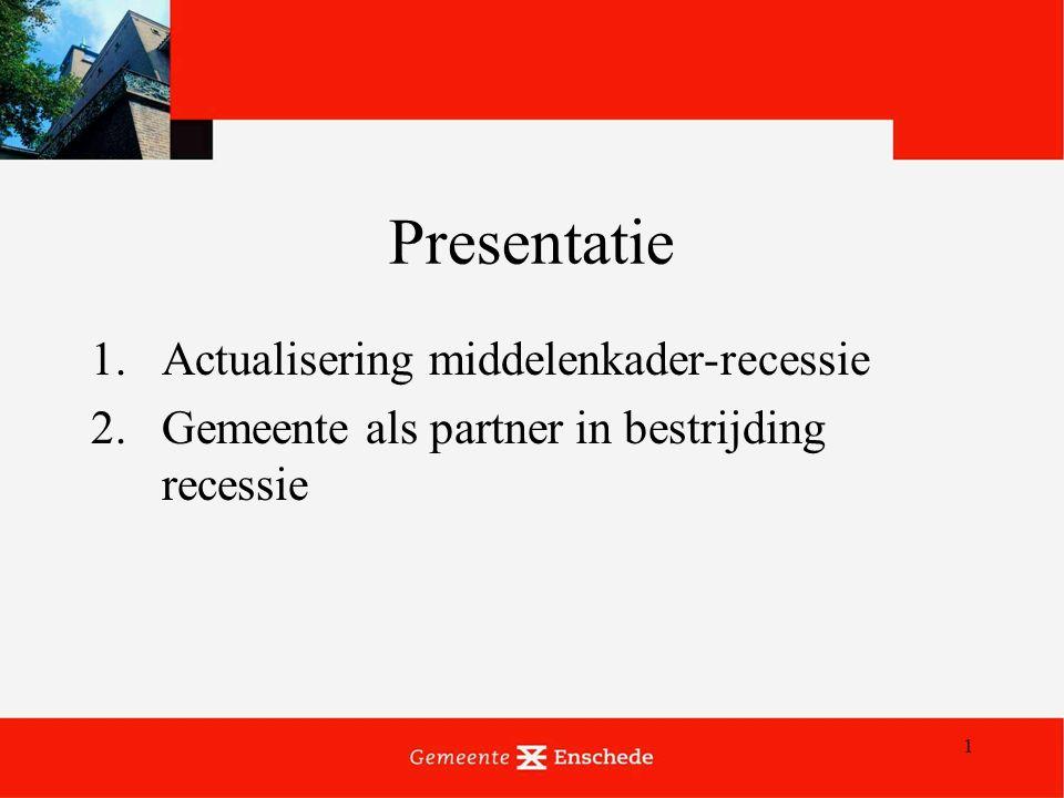 1 Presentatie 1.Actualisering middelenkader-recessie 2.Gemeente als partner in bestrijding recessie