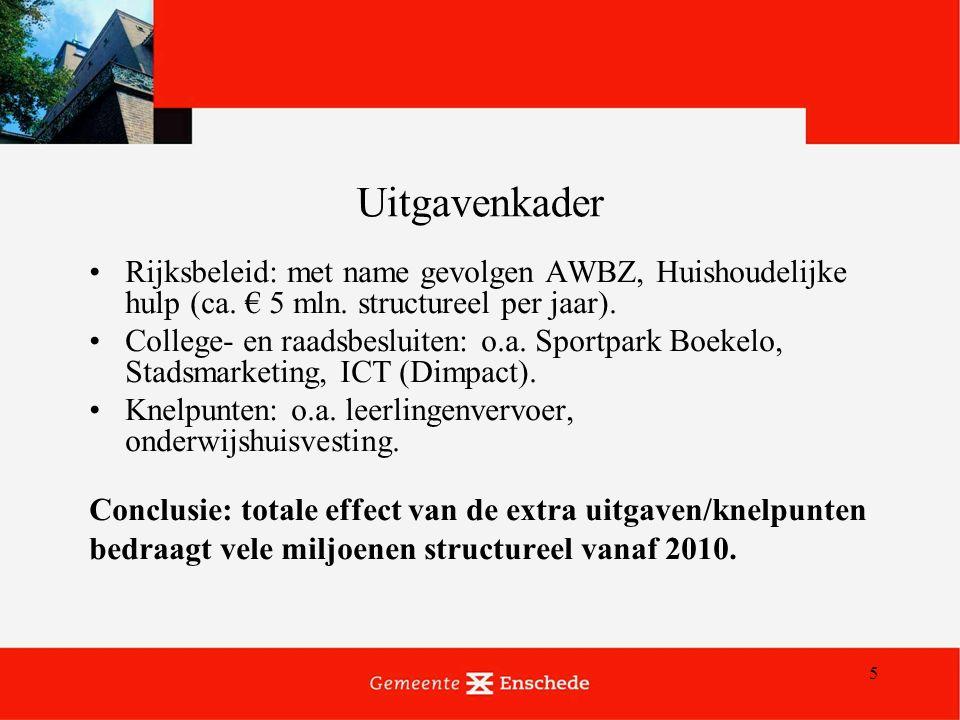 5 Uitgavenkader Rijksbeleid: met name gevolgen AWBZ, Huishoudelijke hulp (ca.