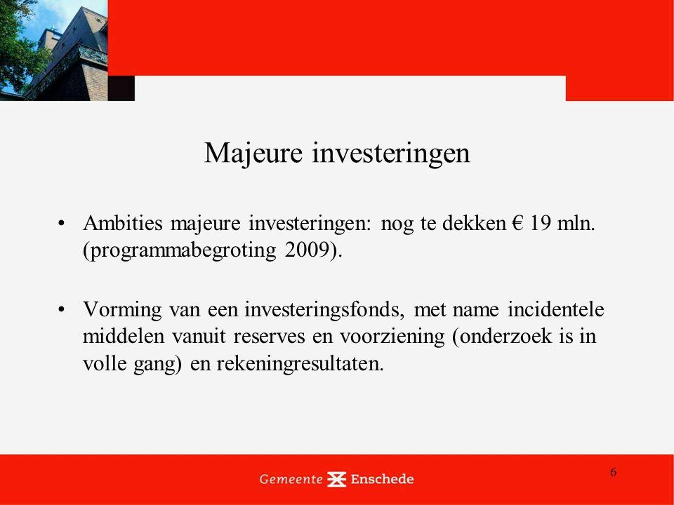 6 Majeure investeringen Ambities majeure investeringen: nog te dekken € 19 mln.