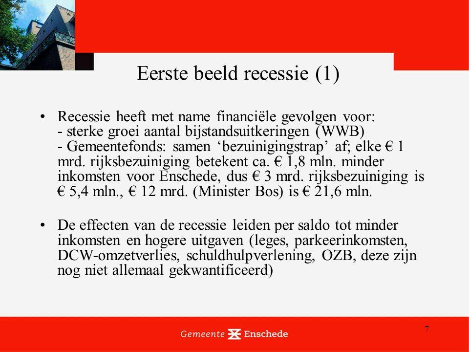 7 Eerste beeld recessie (1) Recessie heeft met name financiële gevolgen voor: - sterke groei aantal bijstandsuitkeringen (WWB) - Gemeentefonds: samen 'bezuinigingstrap' af; elke € 1 mrd.
