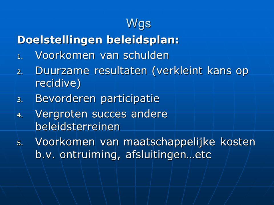 Wgs Doelstellingen beleidsplan: 1. Voorkomen van schulden 2. Duurzame resultaten (verkleint kans op recidive) 3. Bevorderen participatie 4. Vergroten