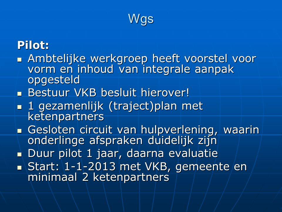 Wgs Pilot: Ambtelijke werkgroep heeft voorstel voor vorm en inhoud van integrale aanpak opgesteld Ambtelijke werkgroep heeft voorstel voor vorm en inh