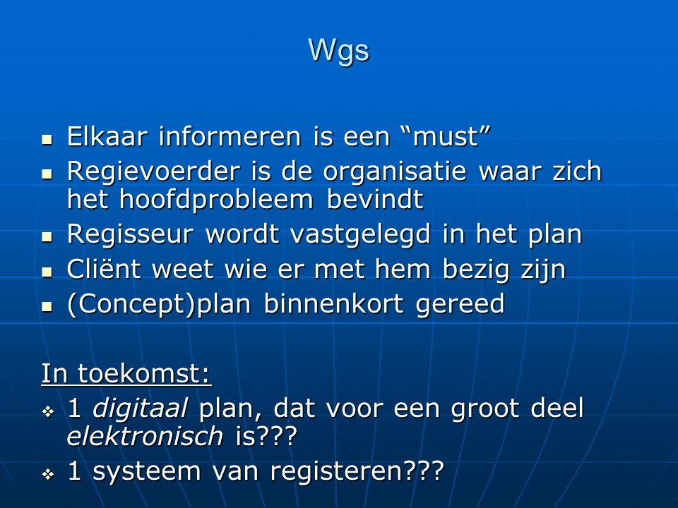 """Wgs Elkaar informeren is een """"must"""" Elkaar informeren is een """"must"""" Regievoerder is de organisatie waar zich het hoofdprobleem bevindt Regievoerder is"""