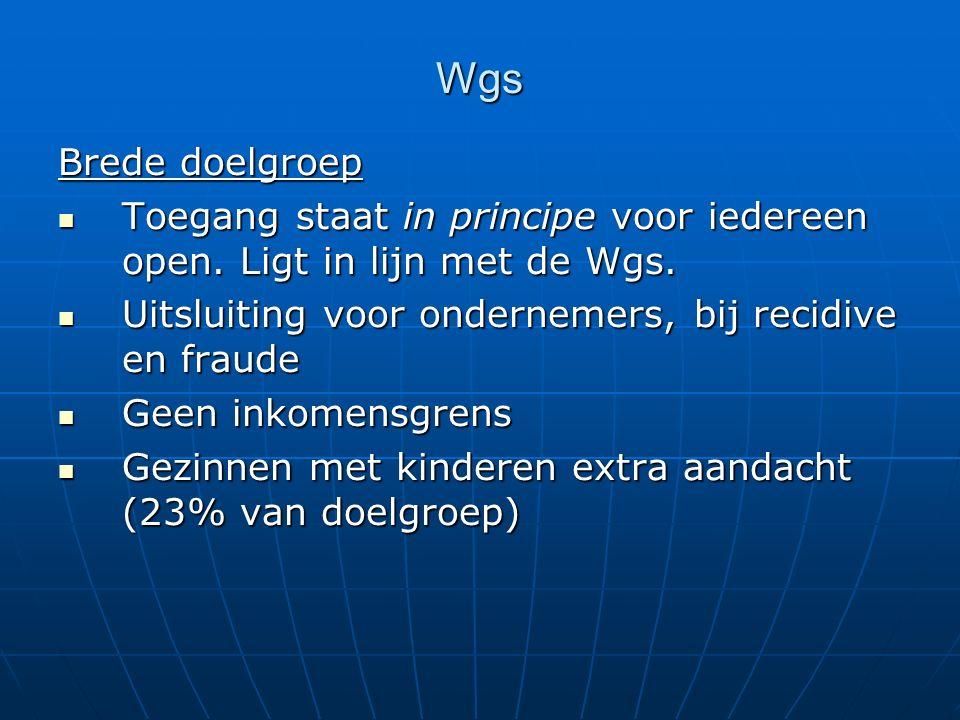 Wgs Brede doelgroep Toegang staat in principe voor iedereen open. Ligt in lijn met de Wgs. Toegang staat in principe voor iedereen open. Ligt in lijn
