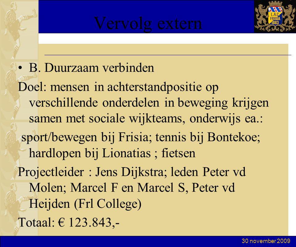 30 november 2009 Vervolg extern B.