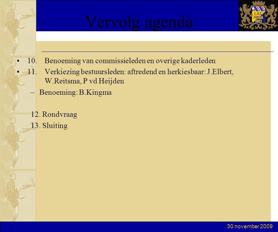 30 november 2009 Vervolg agenda 10. Benoeming van commissieleden en overige kaderleden 11. Verkiezing bestuursleden: aftredend en herkiesbaar: J.Elber