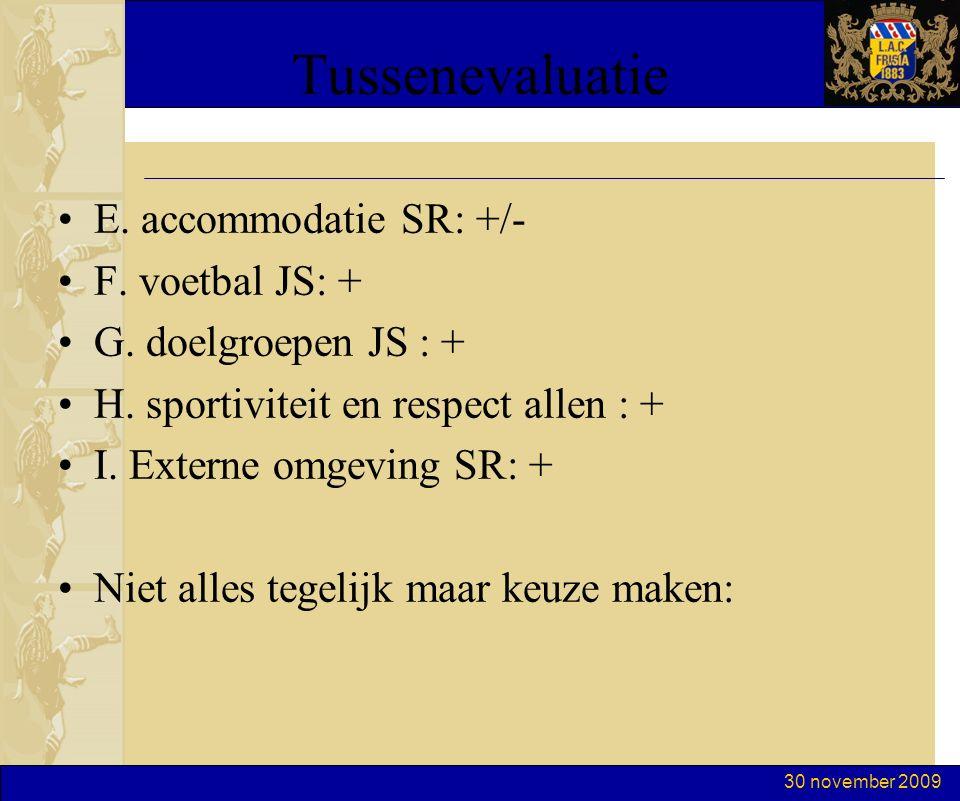 30 november 2009 Tussenevaluatie E. accommodatie SR: +/- F. voetbal JS: + G. doelgroepen JS : + H. sportiviteit en respect allen : + I. Externe omgevi