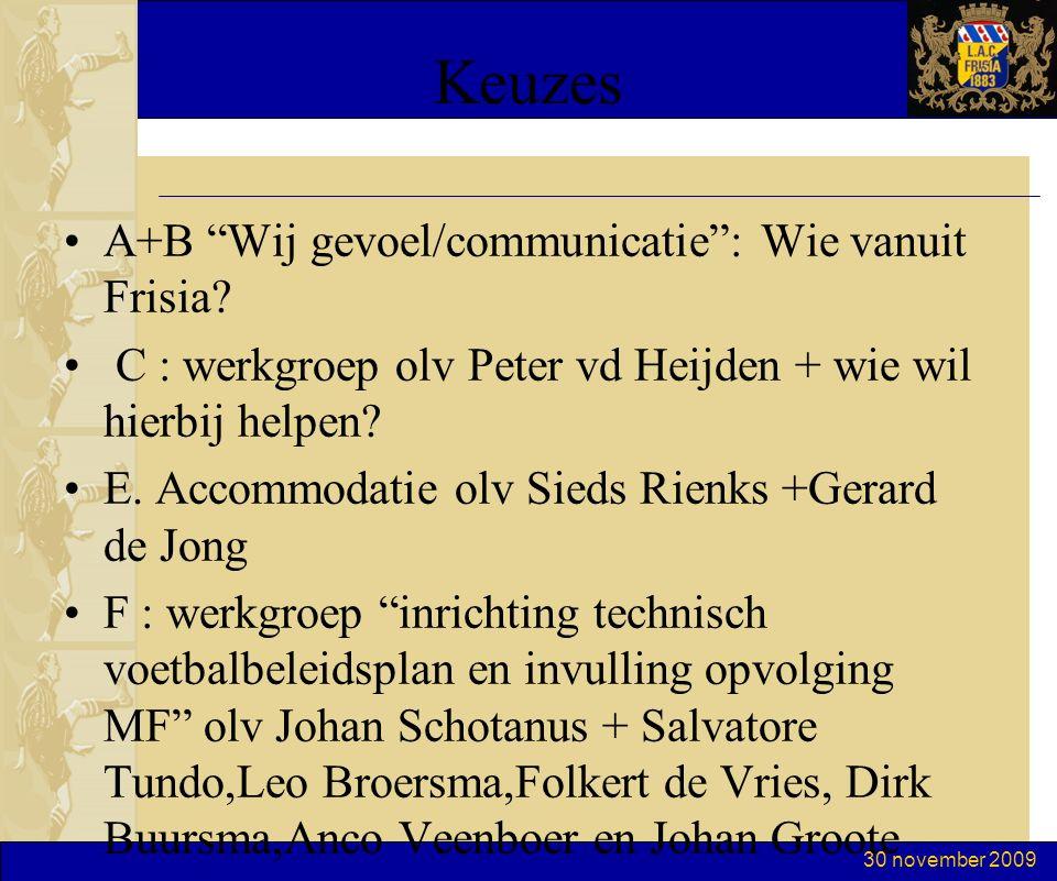 """30 november 2009 Keuzes A+B """"Wij gevoel/communicatie"""": Wie vanuit Frisia? C : werkgroep olv Peter vd Heijden + wie wil hierbij helpen? E. Accommodatie"""