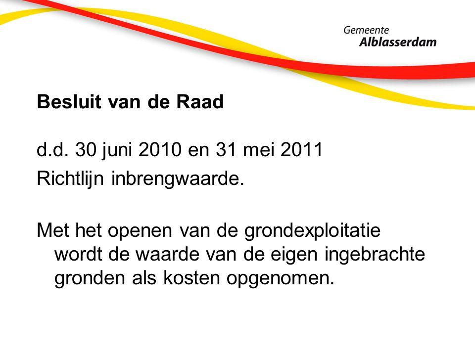 Besluit van de Raad d.d.30 juni 2010 en 31 mei 2011 Richtlijn inbrengwaarde.
