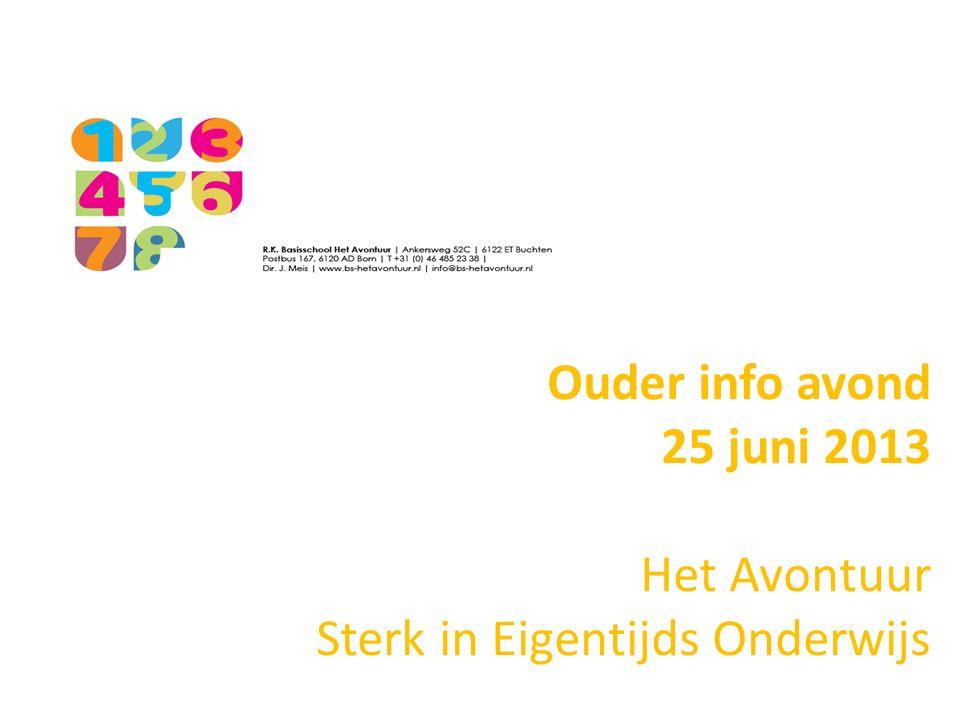 Ouder info avond 25 juni 2013 Het Avontuur Sterk in Eigentijds Onderwijs